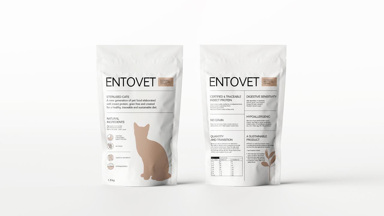 Studio Fire Work, design graphique, packaging, projet croquettes aux insectes Entovet