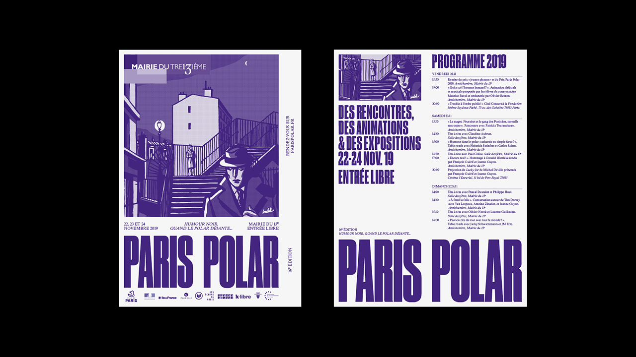 Studio Fire Work, projet festival Paris Polar, mairie du 13e arrondissement de Paris, Affiche